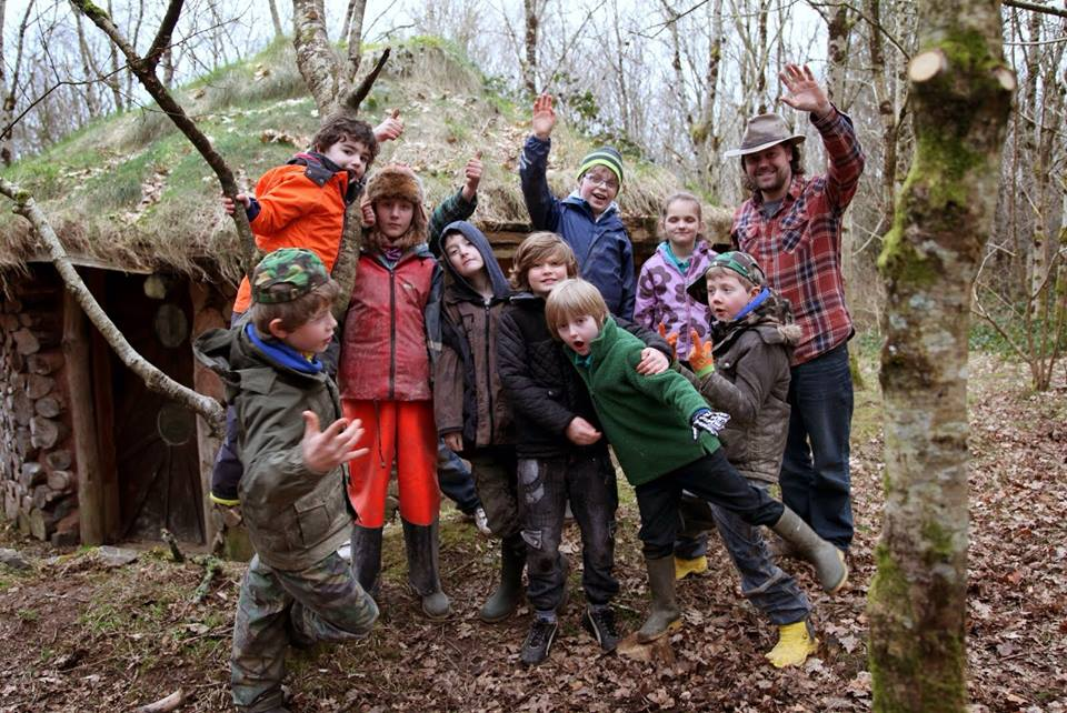forest school group in the woods in wales