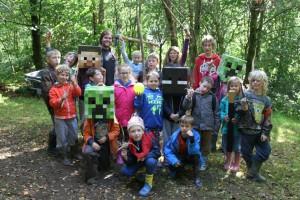 Children playing real Minecraft
