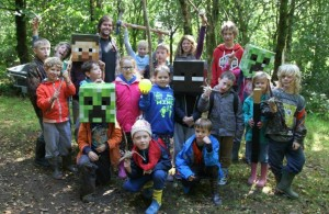 Children playing the Real Minecraft