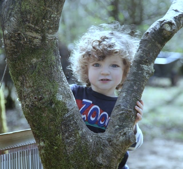 Toddler in the winter woodland