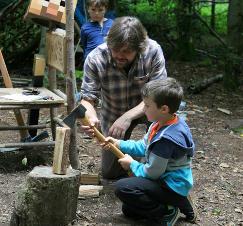 teaching children to use an axe