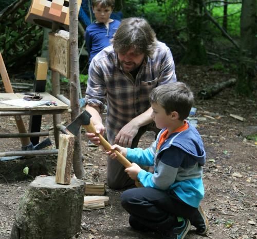 teaching children to use an axe