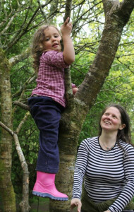 parent and child at forest school