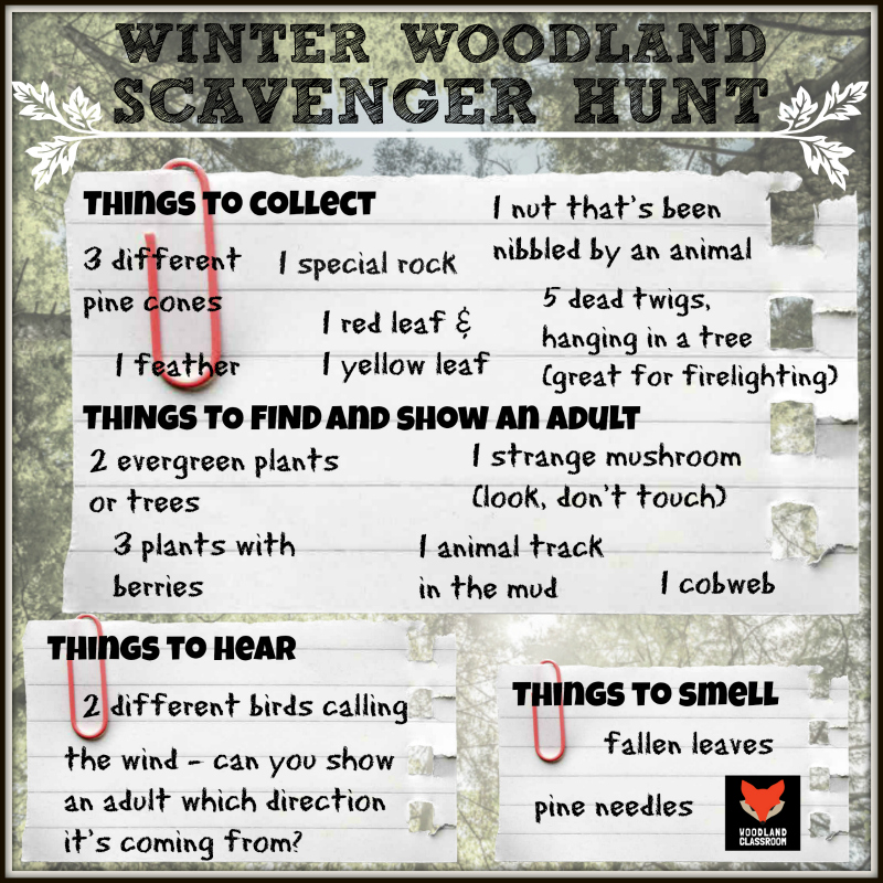 winter woodland scavenger hunt