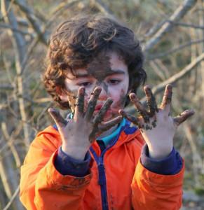 muddy boy outdoors