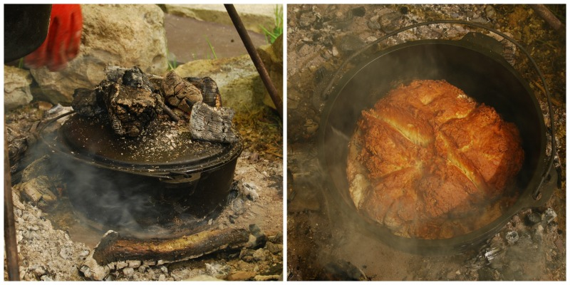 cooking bread in a dutch oven for bushcraft