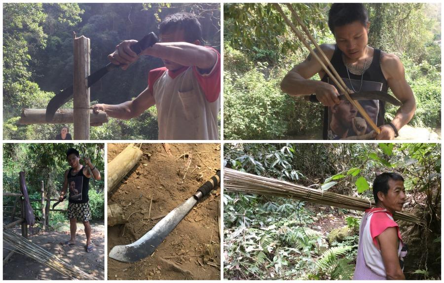 bushcraft bamboo torch collage