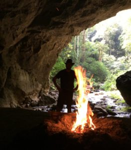 campfire in thailand cave