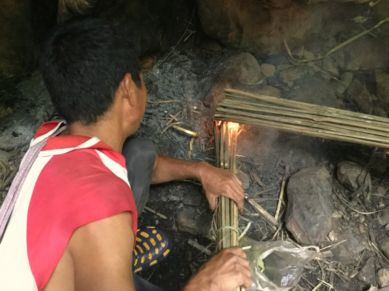 lighting bamboo torches