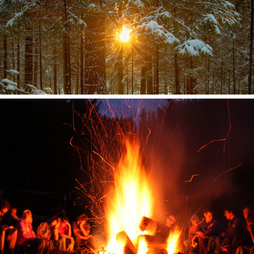 woodland winter solstice celebration in wales
