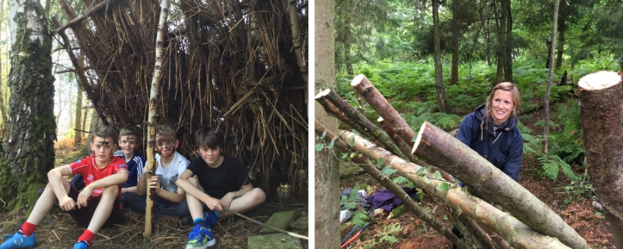 family bushcraft - shelter building skills - north wales