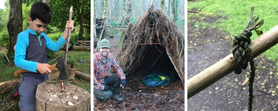 family bushcraft course north wales den building