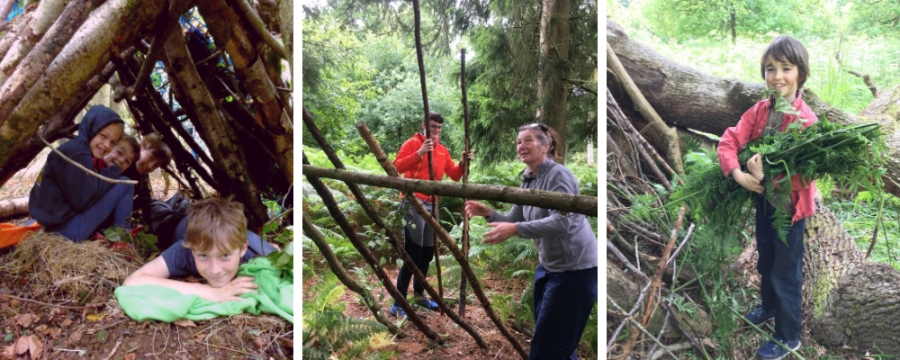 family bushcraft course - shelter building