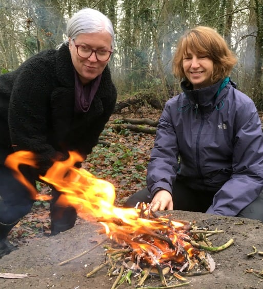 adults learn fire lighting skills in north wales