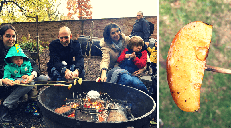 cooking toffee apple slices outdoors