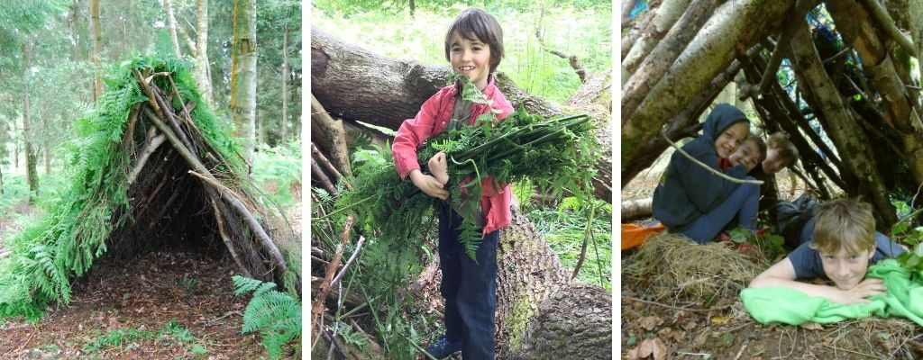 family bushcraft & shelter building in north wales